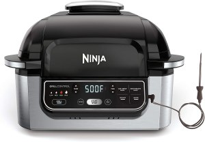 Ninja Foodi Pro 5-in-1 Indoor Integrated Smart Probe, 4-Quart Air Fryer, Roast, Bake, Dehydrate, an Cyclonic Grilling Technology, with 4 Steaks Capacity, in a Stainless Finish