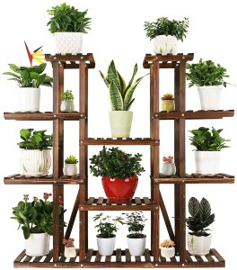 Ufine 9 Tier Wood Plant Stand Carbonized Flower Rack 17 Potted Organizer Tall Plant Display Shelf for Indoor Outdoor Patio Garden Corner Balcony Living Room...