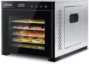 COSORI Premium Food Dehydrator (50 Recipes) for Jerky Meat Herbs Fruit, Dryer Machine with Digital Temperature, 6 Stainless Steel Trays, CP267-FD