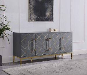 Best Master Furniture Thorne High Gloss Lacquer Sideboard/Buffet with Gold Trim, Grey