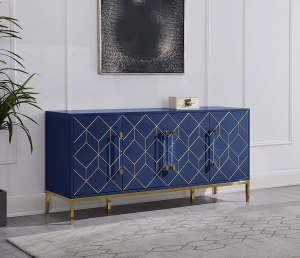 Best Master Furniture Thorne High Gloss Lacquer Sideboard/Buffet with Gold Trim, Navy Blue