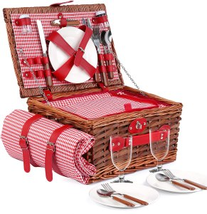 Wicker Picnic Basket Set for 4 Persons with Large Insulated Cooler Bag, Waterproof Picnic Blanket | Willow Picnic Hamper for Family, Outdoor, Camping,...