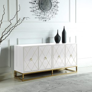 Best Master Furniture Tabitha High Gloss Lacquer Sideboard/Buffet, White