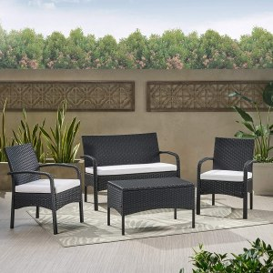 Christopher Knight Home Cordoba Outdoor Wicker Chat Set with Water Resistant Cushions, 4-Pcs Set, Black / White / Black