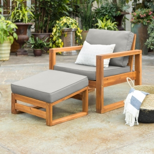 Manor Park Outdoor Patio Chair and Ottoman with Cushions, Brown