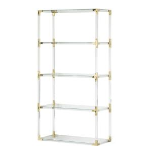 Acrylic Gold Metal Modern 4 Shelf Etagere Bookcase with Glass Shelves