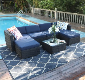 MF Studio 7 Pieces Patio sofa Sets All-Weather Outdoor Sectional Sofa Manual Weaving Wicker Rattan Patio Conversation Set with Cushion and Glass Table (Blue)