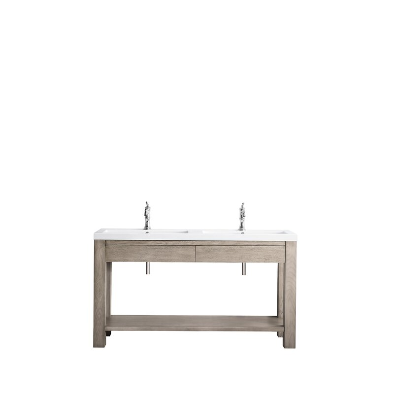 """Brooklyn 63"""" Wooden Sink Console, Rustic Ash W/ White Glossy Resin Countertop"""