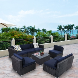 MF Studio 8 Pieces Outdoor Patio Sectional Sofa Sets All-Weather PE Rattan Conversation Sets With Glass Table(Blue)