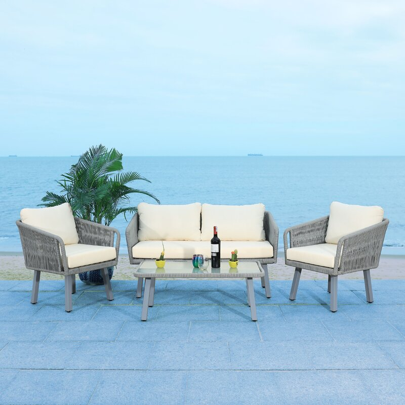 Cangelosi 4 Piece Rattan Sofa Seating Group with Cushions