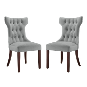 Dorel Living Clairborne Tufted Hourglass Dining Chair, Set of 2, Gray