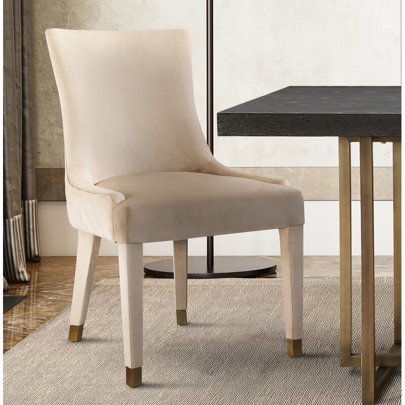 elegant Diego Upholstered Dining Chair (Set of 2) cream