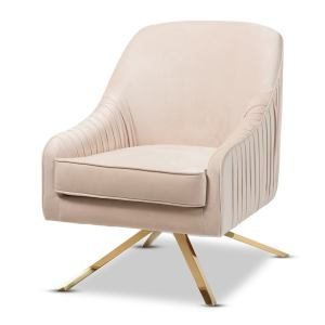 Glamour Velvet Fabric and Gold Base Lounge Chair by Baxton Studio - Beige