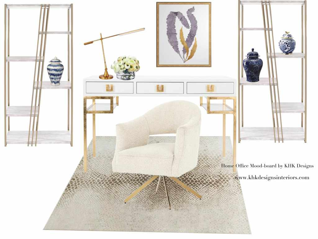 glam chic home office with a calming color palette