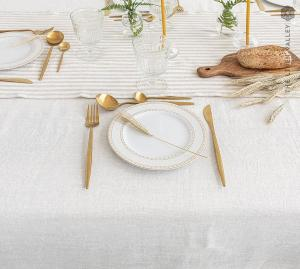 OFF WHITE linen tablecloth- stonewashed linen cream white tablecloth-dense light tablecloth-rectangular, round, square, custom sizes.