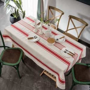 Cotton Linen Tablecloth,Fabric Stripe Table Cloth,Wrinkle Free Dust-Free Tabletop Decoration for Kitchen, table linen