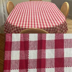 """Vintage 1990s classic red & white gingham / checkered oversized oblong rectangular picnic table sized table cloth, size 62 x 106"""""""