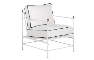 outdoor lounge chair with iron-look chalk white frame and golden finials