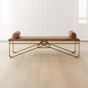 """LA STRIZZA 61"""" SADDLE LEATHER BENCH WITH BOLSTER PILLOWS"""