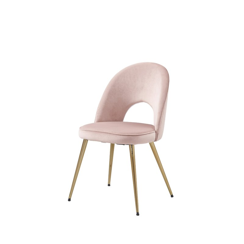 Rimsdale Side Chair (Set of 2) pink with tapered brass legs