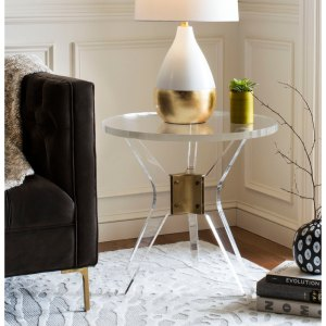 SAFAVIEH Couture Werner Acrylic End Table- Clear - 23.63 In W x 23.63 In D x 22 In H