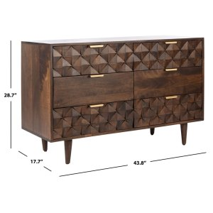 Deco-inspired for a glamorously luxe look, the Zinnia Dresser accentuates high-fashion décor with visual and textural interest. Dark walnut-finished mango wood spotlights Zinnia's chic steel and gold hardware, creating subtle eye-catching appeal. A raised pattern of diamond facets flows over four of its six deep drawers, making Zinnia a striking icon for stylish living.