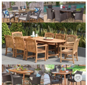 Memorial Day Deal—these durable solid teak and rattan outdoor patio dining sets are great hosting friends and family.