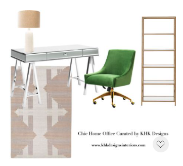We have curated a series of chic home office mood-boards for Memorial Day sale. Up to 50% off and the stock is limited. For this mood-board, we want to create a home office with a touch glam Art Deco influence. ..