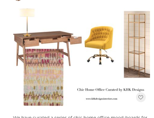 We have curated a series of chic home office mood-boards for Memorial Day sale. Up to 50% off and the stock is limited. For this mood-board, we want to have a little bit fun by using natural rattan , pastels and a strike of sunny yellow. ..