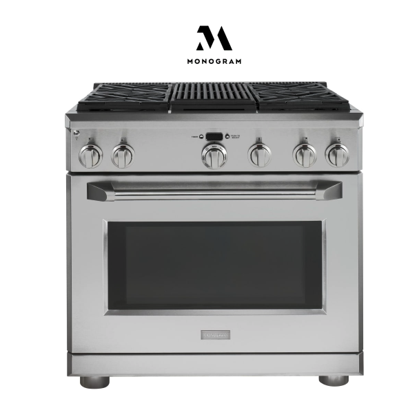 Monogram 36 Inch Wide 5.75 Cu. Ft. Dual Fuel Range with Grill