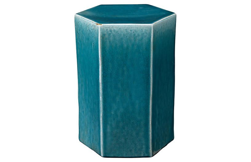 Small Porto Outdoor Side Table - Blue - Jamie Young