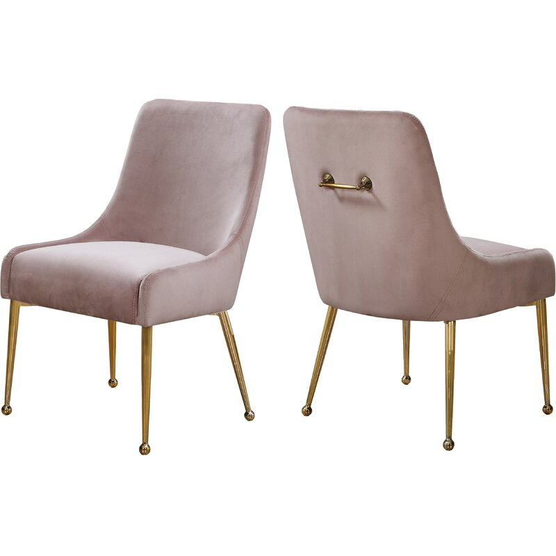 Stovall Velvet Upholstered Side Chair (Set of 2) pink with brass tapered legs