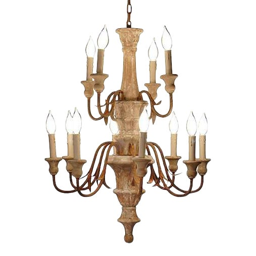 Turned Wood Hand-Carved 2-Tier Chandelier