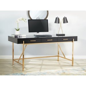 modern and glam black Vallee home office Desk with brass frame