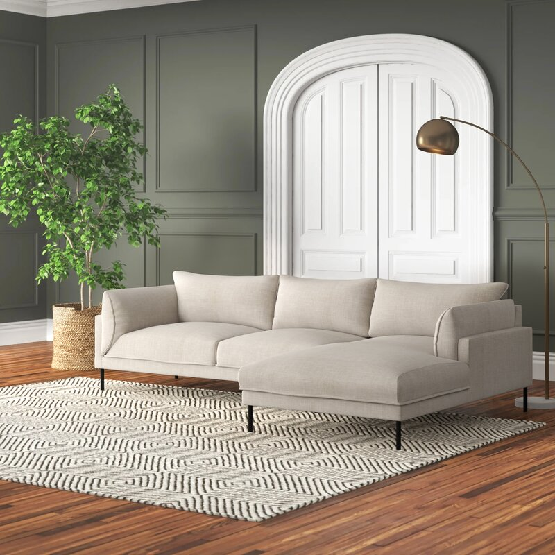 """112"""" Wide Sofa & Chaise modern sectional"""