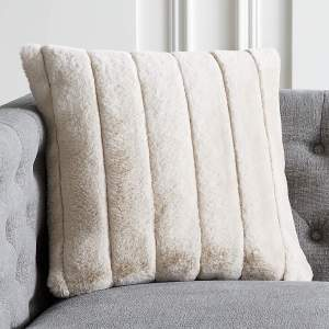 """18"""" CHANNEL FAUX FUR OAT PILLOW WITH FEATHER-DOWN INSERT"""