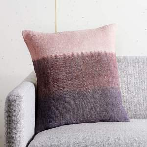 """18"""" NATURAL DYED MAUVE PILLOW WITH FEATHER-DOWN INSERT"""