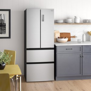 Open the possibilities with this 4-door bottom-mount refrigerator. The virtual steel finish is enhanced with a top center pocket handle and touch temperature control. Two adjustable glass shelves and one fixed shelf pair with storage bins and two freezer drawers to keep food fresh, while LED lighting keeps everything illuminated. Quick Cool and Quick Freeze functions add blasts of cold air where needed, and a Sabbath mode disables functions in accordance with those who keep to Shabbat-observing practices. Features  Provide a quick and easy control on your fresh-food and freezer temperatures with an increase/decrease of 1 degree in each press: External capacitive touch temperature controls Clear Fully Encapsulated Storage Door Bins Product Details  Product Type: French door refrigerator Color/Finish: Stainless Smudge-Resistant Finish: Yes Installation Type: Freestanding Fresh Food Capacity: 9.61 cubic feet