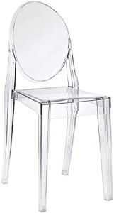 Hawthorne Collections Modern Acrylic Design Dining Chair in Clear - Fully Assembled, Indoor/Outdoor Use