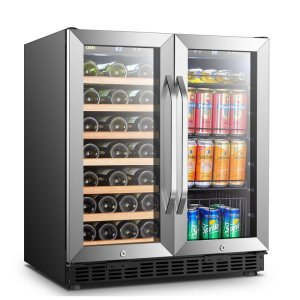 33 Bottle and 70 Can Dual Zone Freestanding Wine and Beverage Refrigerator