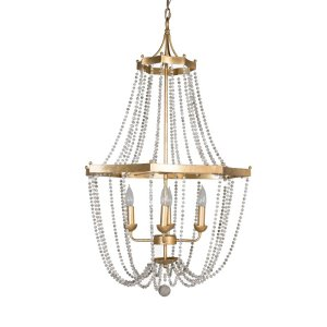 4 - Light Candle Style Empire Chandelier with Beaded Accents