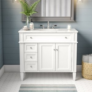"""Antionette 40"""" Single Bathroom Vanity Set white with marble top"""