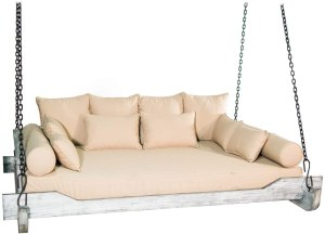 TITAN GREAT OUTDOORS Grade A Teak Montana Queen-Sized Porch Swing Bed with Cushion, Pillows, and Hanging Chains