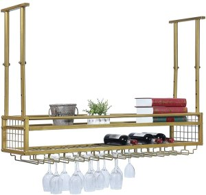 Hanging Wine Rack with Glass Holder and Shelf,Adjustable Metal Ceiling Bar Wine Glass Rack,2-Layer Industrial Wall Mounted Wine and Glass Rack,47.2in Iron...