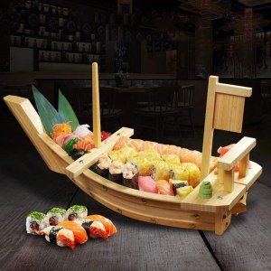 """20"""" Wooden Sushi Serving Tray Boat Plate for Restaurant or Home"""