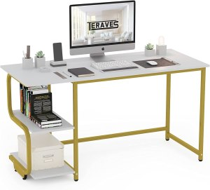 Teraves Reversible Computer Desk for Small Spaces with Shelves,47 inch Gaming Desk Office Desk for Home Office