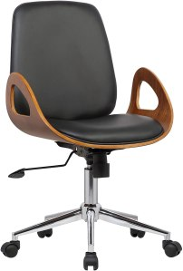 Armen Living Wallace Office Chair in Black Faux Leather and Chrome Finish