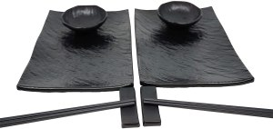 Sushi Unlimited Sushi Set for Two: Sushi Plates, Soy Sauce Bowls, Chopsticks, Includes Chopstick Holders!