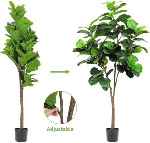 Realead 6ft Artificial Plant Fiddle Leaf Fig Tree Fake Tree in Pot Natural Faux Tree with 128 Leaves Ficus Lyrata Greenery Plant Indoor Outdoor Decor for House Home Office Perfect Housewarming Gift