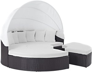 Modway Convene Wicker Rattan Outdoor Patio Retractable Canopy Round Poolside Sectional Sofa Daybed with Cushions in Espresso White